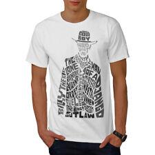 Wellcoda Salvaje Oeste Vaquero Hombre Camiseta, Camiseta Impresa Outlaw pistola Diseño Gráfico