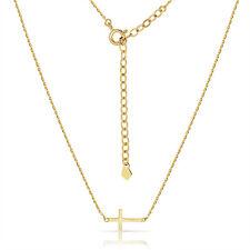 Sideway Cross Pendant Chain W/ Extension 14K Solid Yellow Gold Flat Horizontal