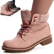 Damen Worker Boots Stiefeletten Stiefel Booties Schnürboots Schnürschuhe