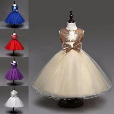 Flower Girl Princess Dress Sequins Party Wedding Bridesmaid Formal Tutu Gown