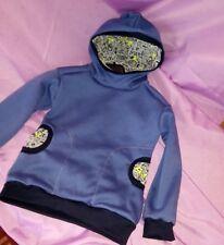 Taschen Sweatstoff Kapuzenshirt rauchblau Dinosaurier handmade