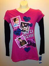 Justin Bieber Beliebers Long Sleeve Shirt Slim  Boyfriend Baby black/pink