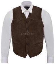 Men's Brown Suede Real Leather Waistcoat Western Cowboy Festival Party Vest ZARA