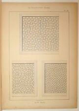 Stampa antica stile arabo GRIGLIATI DECORATI 1885 Old Print Arabian Style