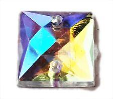 10mm Square Clear AB Coated Iridescent Flat Back Stitch Sew On Acrylic Jewel Gem