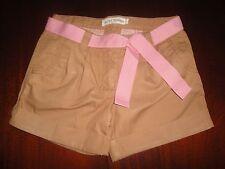 NWT 6 8 10 Mini Boden Preppy Caramel Shorts with Pink Tie Crisp & Versatile