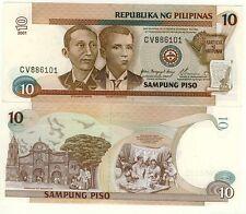 PHILIPPINES billet neuf 10 PISO Pick187i  CREATION REPUBLIQUE PACTE DU SANG 2001