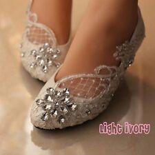 "Wedding White Ivory Lace Bridesmaid Bridal shoes Flat 3"" 4"" Low High Heels 5-12"