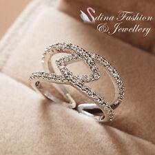 18K White Gold GP Simulated Diamond Round Stylish Crossover Band Adjustable Ring