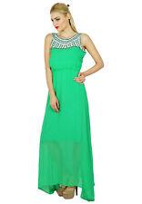 Bimba Women Long Green Maxi Half Lined Dress Hand Beaded Neck Sleeveless Gown