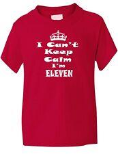11th Eleventh Birthday Keep Calm I'm 11 Birthday Present Kids T shirt Age 1-13