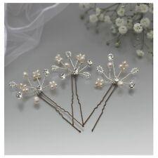Freshwater Pearl Gypsophila Wedding Hair Pins x3 Gold or Silver Finish Bridal UK