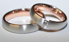 1 Paar Trauringe Eheringe Gold 585 - Damenring mit Briliant 0,05ct - TOP Design