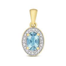 Il Topazio Blu E Diamante Ciondolo Collana in oro giallo ovale Blu Svizzero valutazione