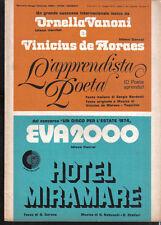 DE MORAES VANONI L'apprendista poeta + EVA 2000 1974 Spartiti Sheet Music