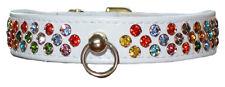 "Diamante Dog Collars. Waterfall Crystal Jewel Collars. WHITE 12""-22"" / 30 - 56cm"