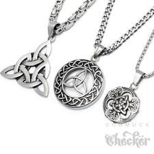Triqueta Anhänger Keltischer Knoten Edelstahl Medaillon Herren Schmuck Halskette