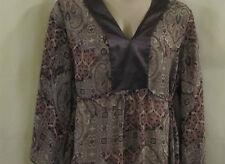 VIEW BY WALTER Semi Sheer Floral Print Kimono Top Gray/Pink 1X