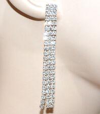ORECCHINI ARGENTO donna fili STRASS pendenti cristalli cerimonia eleganti G42