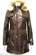 Oxford marron femmes femme's smart designer glacé à capuche véritable veste cuir