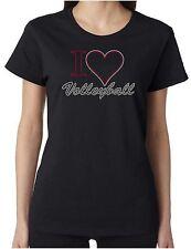 I Heart Volleyball Love Rhinestone Women's Short Sleeve Shirts Sports Beach