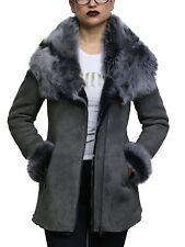 Damen grau mit Kapuze Spanisch Merino Lamm Wildleder Ausführung Toskana