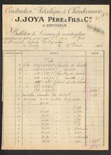 """GRENOBLE (38) CONSTRUCTIONS METALLIQUE & CHAUDRONNERIE """"J JOYA Pere & Fils"""" 1904"""