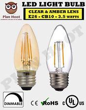 E26 3.5W B10 LED Filament Light Bulb Clear Amber  2700K 2200K AC120 UL Dimmable