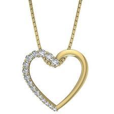 Heart Pendant Necklace Natural Diamond VS1 E 0.55Carat 14K Yellow Gold Prong Set