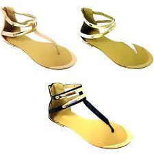 Womens Sandals Gladiator Roman Rhinestone Flats T Strap Thong  Back Zipper Sizes