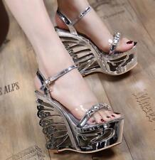 Womens Open Toe Rhinestone Clear Platform Wedge High Heels Sandals Clubwear New