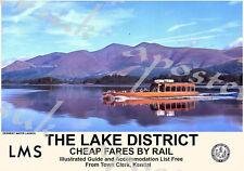 Vintage Style Railway Poster Lake District Derwent Water Launch A4/A3/A2 Print