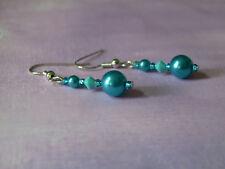 Boucles d'Oreilles bleu turquoise Mariage/ Mariée p robe ( clips possible)