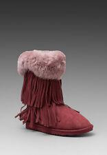 Koolaburra Women's Authentic Haley Tawny Port Suede Fur Fringe Fold Down Boots