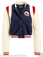 New Womens Baseball Jacket Ladies Cardi Girls Jumper Hoodie Size 8 10 12 14