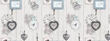 GREY LOVE HEARTS BUTTERFLIES CLOCK PLAIN PVC VINYL OIL CLOTH TABLE PROTECTOR NEW