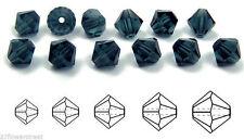 Czech MC Glass Bicone Beads (Rondell/Diamond) Montana silvery blue crystals