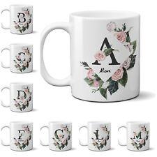Personalised Name Vintage Floral Rose Border Coffee Mug Gift 11oz Ceramic