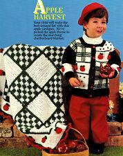 ADORABLE Apple Harvest Toddler Cardigan & Blanket/Crochet Pattern Instructions