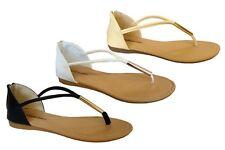 New Womens' Metal Tube T-Strap Gladiator Flat Sandal Sandal with Zipper--(8019)