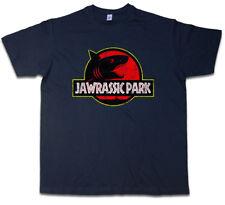 Jawrassic Park T-shirt Island Shark WHITE Jaws Martin Fun Quint Brody Great