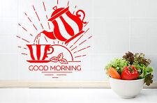 Wall Vinyl Decal Tea Couple Cup Teapot Good Morning Kitchen Decor z4729