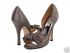 NIB Badgley Mischka Babette heels D'orsay pumps satin/suede shoes  Gray 9,5