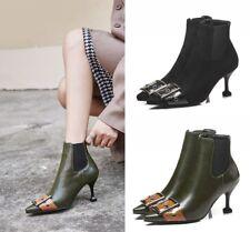 Women's Punk Ankle Boots Kitten Heel Pointed Toe Buckle Decor Side Zipper Shoes