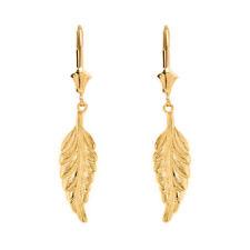 Solid 10k / 14k Yellow Gold Bohemia Boho Feather Leverback Drop Earring Set