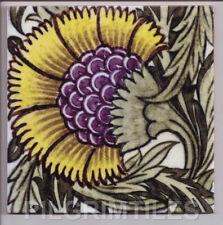 "William De Morgan Arts & Crafts ""BBB Yellow"" 02 Ceramic Tiles Plaque Fireplace"