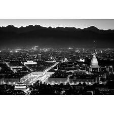 Quadro Stampa su Pannello in Legno MDF Torino panorama di notte