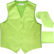 New Men's lime green formal vest Tuxedo Waistcoat_necktie & hankie set wedding