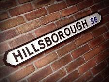Hillsborough Football Ground Old Sheffield Vintage Street Sign Wednesday