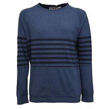 9291S felpa uomo MADSON blu maglia cotone/lino sweatshirt men